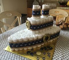 nautical themed baby shower diaper cake blue and gold ship by
