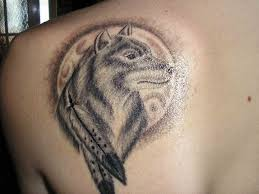 half wolf howling at moon tattoos sleeve wolf