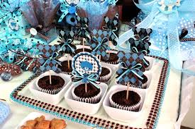 brown blue teddy theme baby shower party ideas photo 5 of