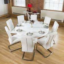 white dining room table seats 8 large round white gloss dining table lazy susan 8 white chairs 4110