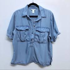 chambray blouse 43 h m tops h m conscious collection chambray blouse