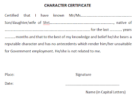 character certificate templates find word templates