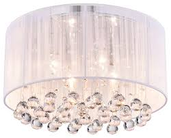 Wall Mount Chandelier Crystal 4 Light White Drum Shade Chrome Flush Mount Chandelier