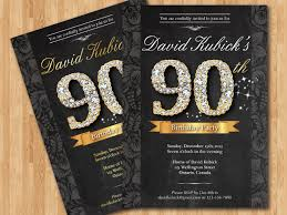 80th Birthday Invitation Cards 90th Birthday Invitation Black And Gold Diamond Number