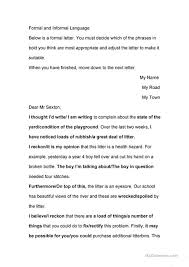 Business Letter Language formal and informal language use in business letters worksheet