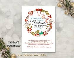 christmas party invitation template printable holly wreath