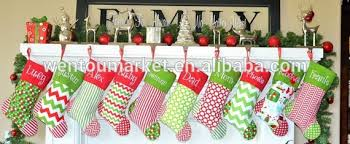 Personalised Christmas Decorations In Bulk by Wholesale Monogram Personalised Burlap Chevron Christmas Stocking