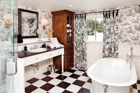 Black And White Checkered Tile Bathroom Marvelous Toile Curtains In Bathroom Traditional With Repurpose