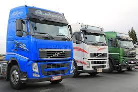 volvo truck center three colorful volvo trucks editorial image image of blue green