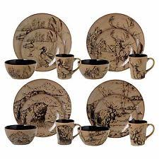 nature print complete stoneware dinner service sets ebay