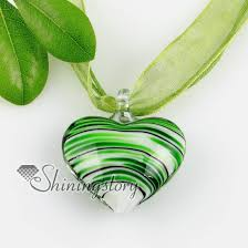 green heart pendant necklace images Heart with lines lampwork murano italian venetian handmade glass jpg