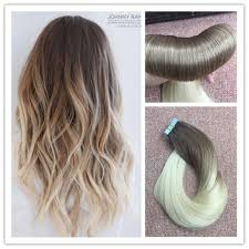 Blonde Weft Hair Extensions by Ombre Medium Brown To Bleach Blonde Skin Weft Tape In Human Hair
