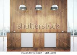Wooden Reception Desk Blank Posters Lamps Stock Illustration