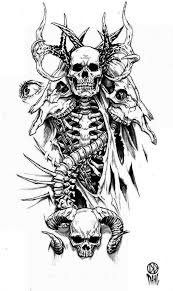 black and white demon skeleton with animal skulls tattoo design by
