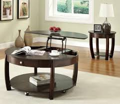 cool round granite top coffee table with table leg base and wooden