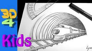 easy 3d trick art drawing for kids how to draw train and tunnel