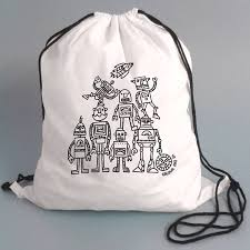 pump bag with robots to colour in by pink pineapple home u0026 gifts
