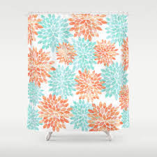 Salmon Colored Shower Curtain Attractive Coral Shower Curtains And Love Midge Graphic Flower
