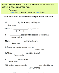fill in the missing homophone worksheet turtle diary