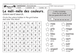 french 3rd 4th grade at colors les couleurs colors word