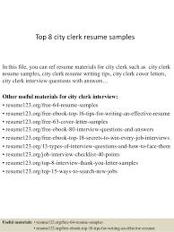 Receiving Clerk Resume Sample by Top 8 City Clerk Resume Samples 1 638 Jpg Cb U003d1428135756