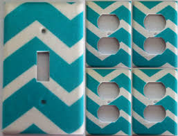 teal chevron girls bedroom bathroom wall decor light switch plate