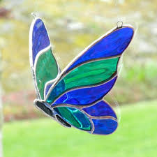 stained glass butterfly l stained glass butterfly 3d blue and green vitraux pinterest