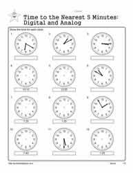 telling time to 5 minutes worksheets