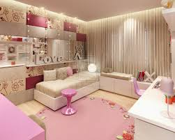 Cream And White Bedroom Wallpaper Bedroom With Round Pink Rug And Cream Fabric Curtains Also