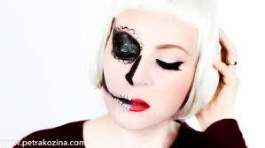 Half Skull Halloween Makeup by Half Face Sugar Skull Halloween Makeup Youtube