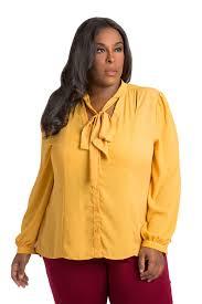 blouse plus size poetic justice plus size neck tie chiffon blouse mustard