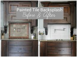 Pictures Of Backsplashes In Kitchen I Painted Our Kitchen Tile Backsplash The Wicker House