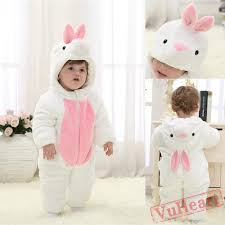 baby white rabbit kigurumi onesies pajamas costumes winter pajamas