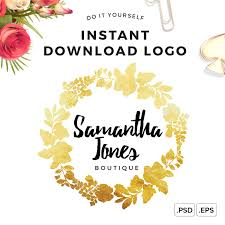 logo design instant download gold wreath logo diy logo