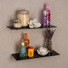 Glass Floating Shelves by Danya B Pristine 16 In W X 2 In H Black Smoke Glass Floating