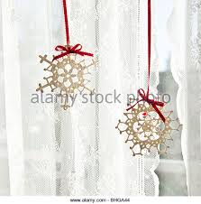 Snowflake Curtains Christmas Curtains Window Christmas Stock Photos U0026 Curtains Window Christmas