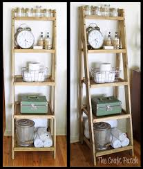 Creative Bathroom Storage Ideas by Bathroom Dark Finished Wood Ladder Shelf Idea For Set Bathroom