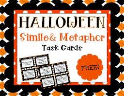 free halloween simile and metaphor task cards mini set tpt