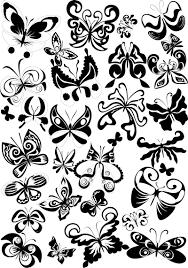 butterfly shaped tattoo templates vector free stock vector art