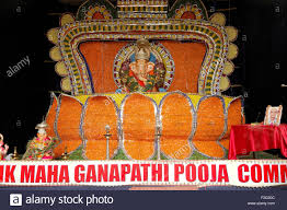 Home Decoration Of Ganesh Festival by Idol Of Lord Ganesh Flowers Decoration In Ganesh Festival At