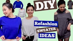 diy refashion sweater ideas sweater hack cold shoulder cut out