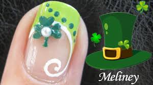french tip manicure clover nail tutorial st patrick u0027s day