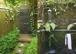 outdoor shower bathroom pedestal sink above round mirror on the