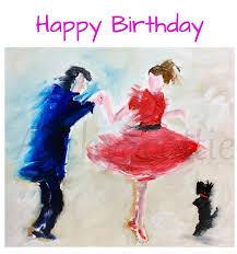 scottie dog u0026 jivers square greeting card u0027happy birthday u0027 dancing