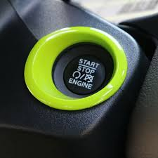 yellow jeep interior 1x engine start stop push button trim ring cover dashboard