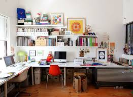 White and Busy Home Workspace Design with Neat Bookshelf