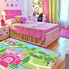 Pink Bedroom Rug Amazon Com Huahoo Pink Girls Bedroom Rugs Cartoon Castle Kids