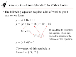 fireworks from standard to vertex form