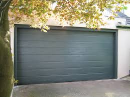 hormann m ribbed sectional garage door in woodgrain anthracite