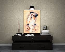 australian shepherd keychain australian shepherd print canvas portrait artwork custom dog